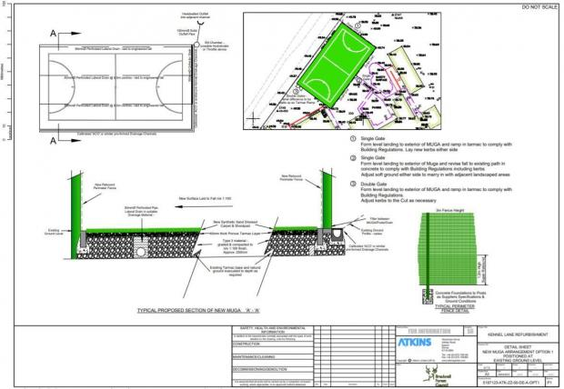 Bracknell News: Plans for a new Multi-Use Playground (MUGA) sports field at Kennel Lane School in Warfield.  Credit: Atkins Ltd