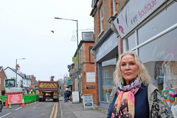 (191153) Brockehurst Road traders in South Ascot  Joy Macdonnell from Coco Boutique losing trade from Closed Road. Pictures by Mike Swift.