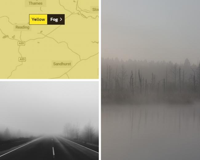 Yellow weather warning for fog in Berkshire tomorrow