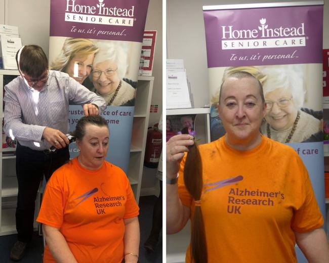 Mo Cesano, caregiver for Home Instead Senior Care Ascot, Camberley and Wokingham, after her brave head shave for Alzheimer's Research UK.