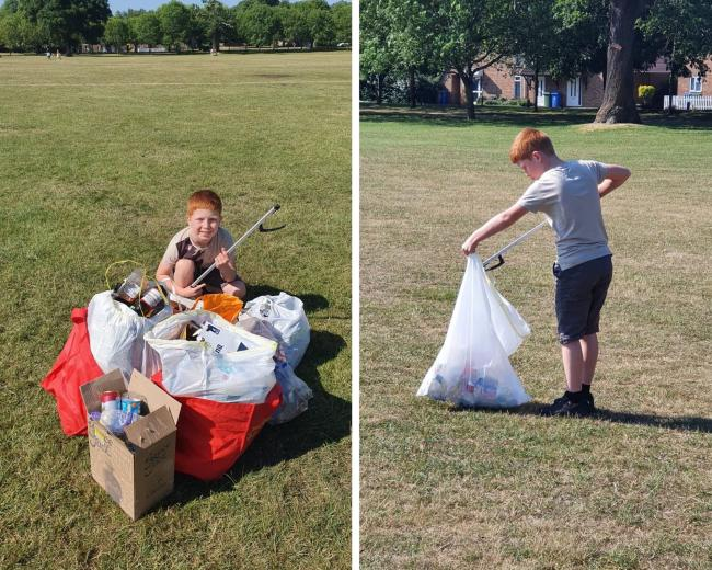 Jayden Sable collecting rubbish following this weekend's activities at South Hill Park