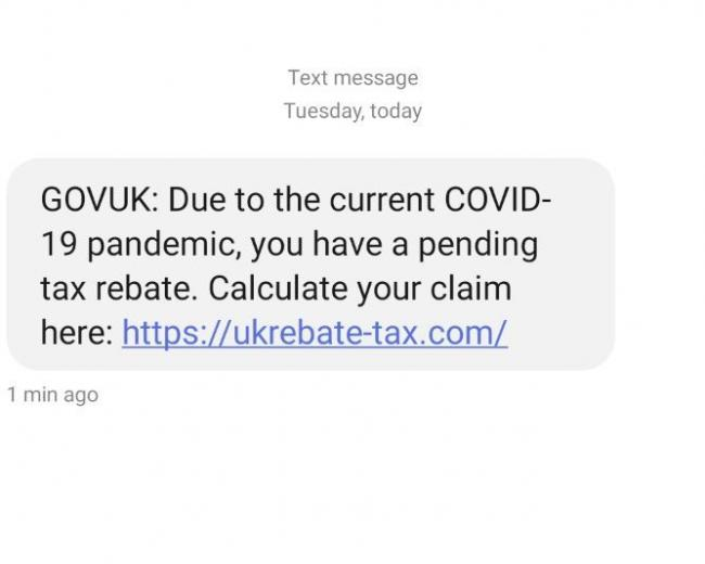 An example of a scam text message