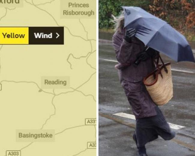 Yellow weather warning for wind in Berkshire later today