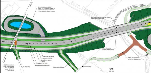 Bracknell News: The design of South Wokingham Distributor Road, including a three-meter shared path for pedestrians and cyclists.  Credit: Wokingham Borough Council