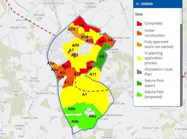 Bracknell News: Map showing the progress of the major development of Arborfield Garrison.  Credit: Wokingham Borough Council