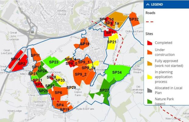Bracknell News: Major development of Shinfield Parish.  Credit: Wokingham Borough Council