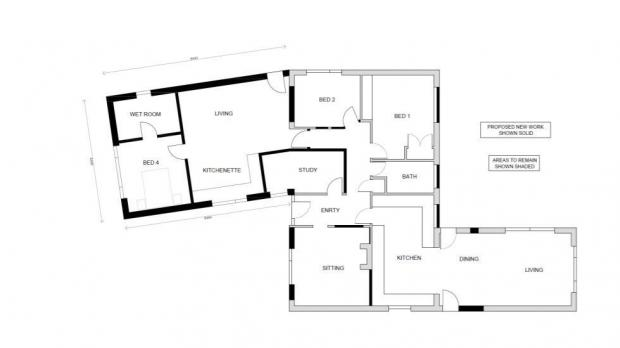 Bracknell News: The plan for a one-story extension at Kenrick, Chavey Down Road, Winkfield Row.  Credit: Lascelles Design