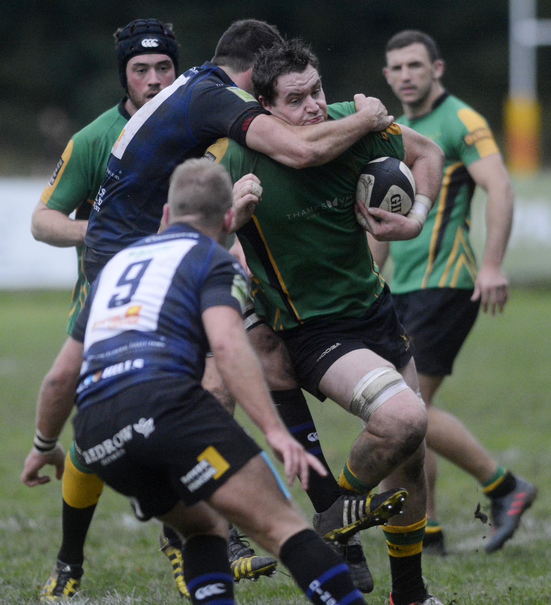 Lachlan Valentine is tackled during Bracknell's defeat to Dings Crusaders