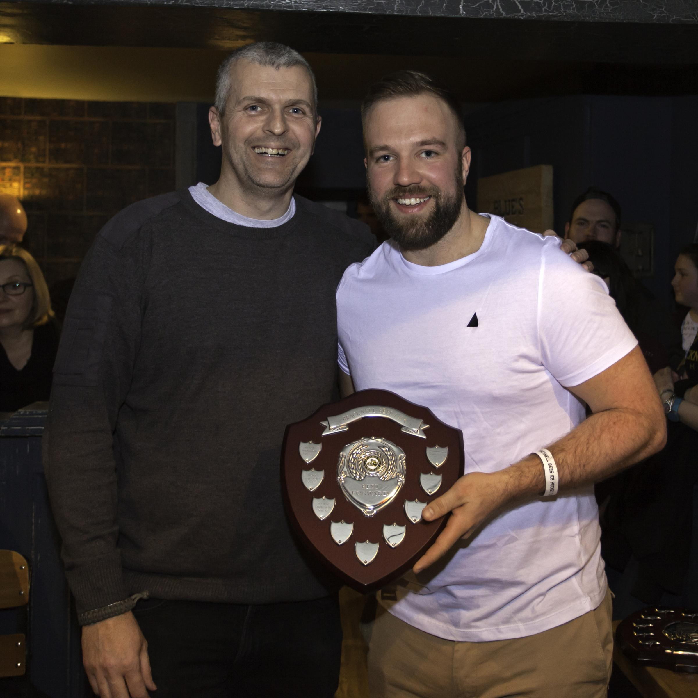 Forward of the season Shaun Thompson with outgoing Bees Supporters' Club chairman, Steve Goldstone    Picture by Kevin Slyfield