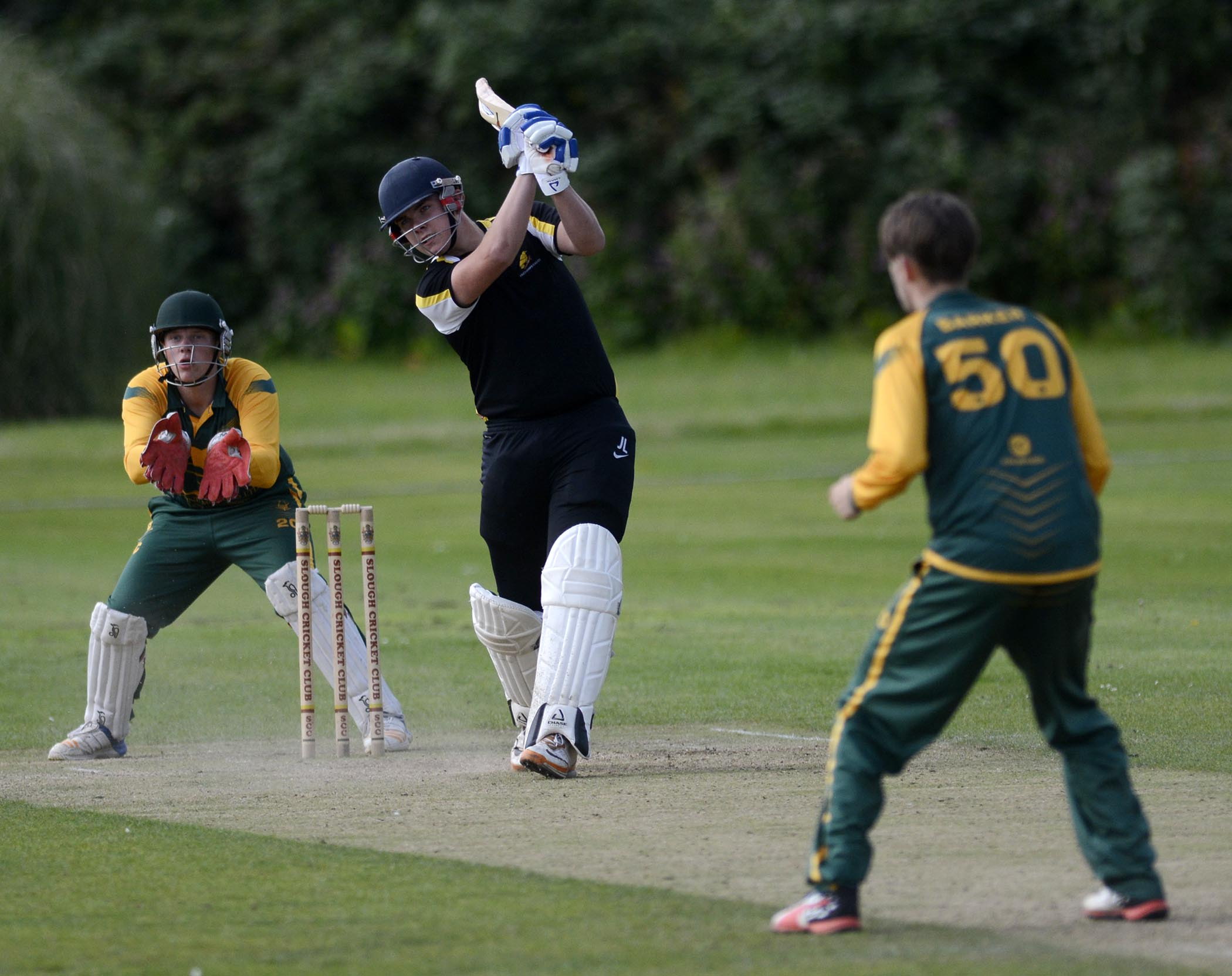 Finchampstead Under 19s batsman Josh Lincoln attacks during their semi final against Wokingham