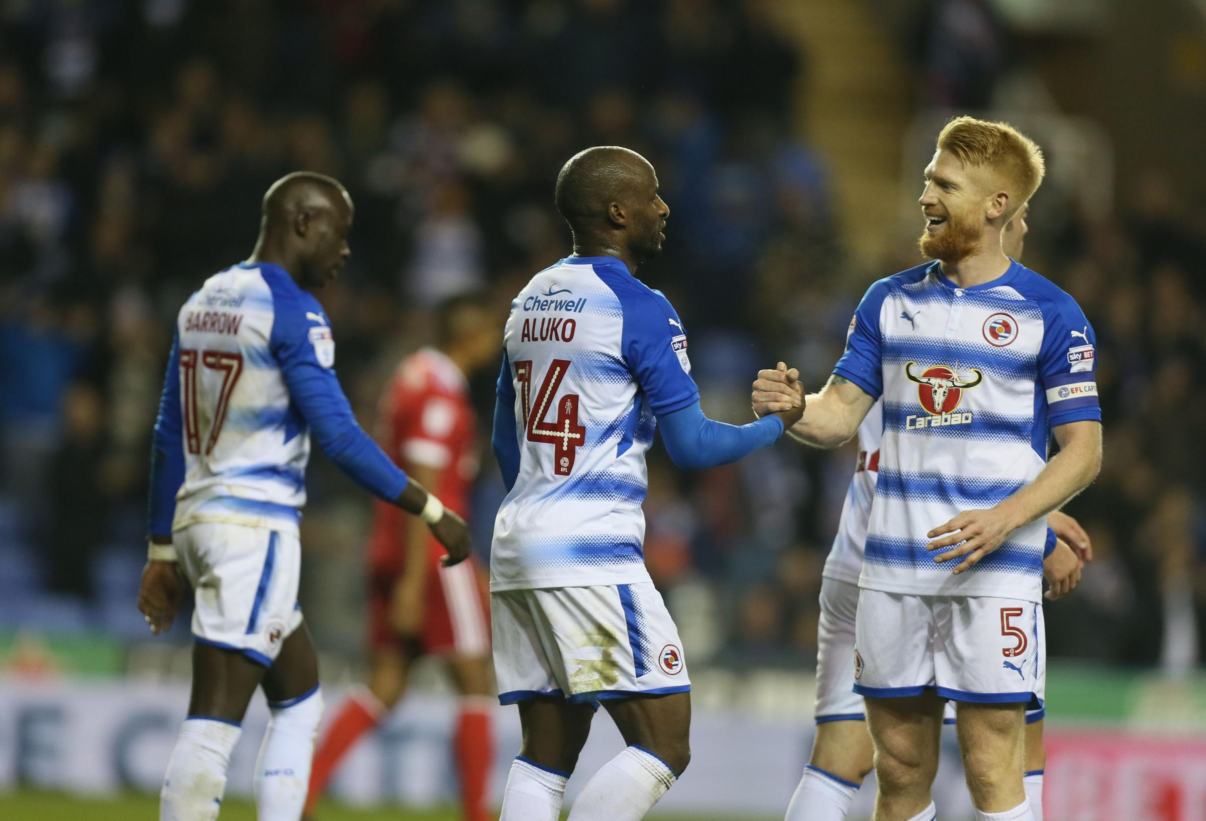 Sone Aluko and skipper Paul McShane are all smiles after Royals beat Nottingham Forest. Picture: Ian Morsman.