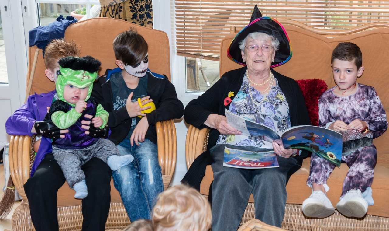 Halloween treat is spooktacular as day care residents celebrate festivities with toddler group