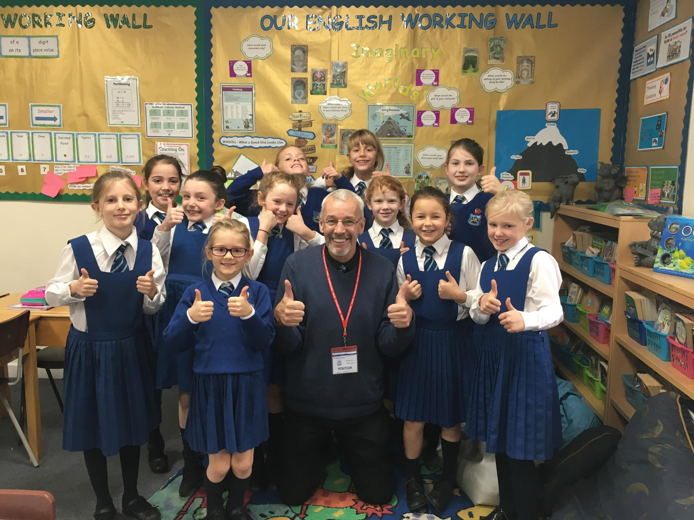 Children's author pays visit to primary school to give advice and writing lessons