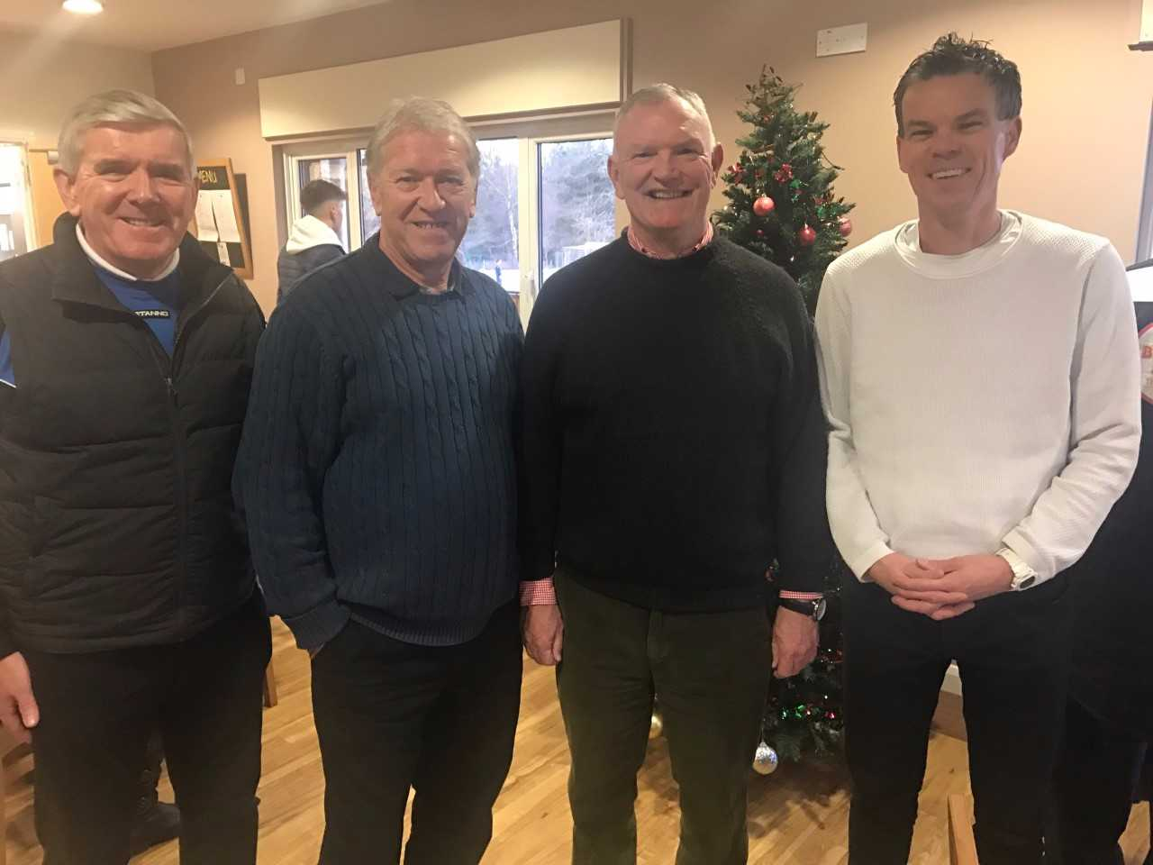 (L-R) FA Chairman Greg Clarke (second right) with Ascot United officials Doug Page, Mike Harrison and Neal Jeffs before the game against Fairford Town