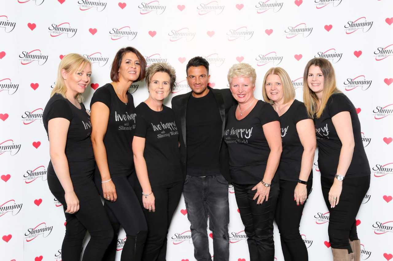 Slimming World Consultants meet singer and presenter Peter Andre: Louise Hayward, Jessica Tutton, Marelise Morley, Emma Evans, Cindy Rowley, Natalie Coles