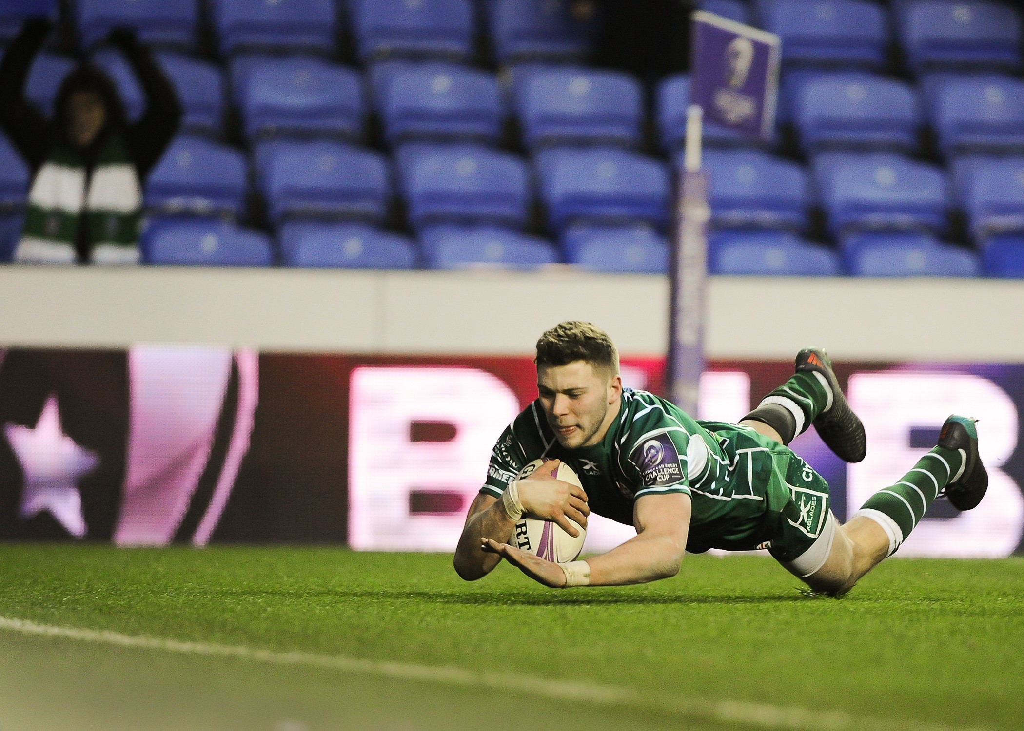 Theo Brophy Clews scores a try against Krasny. Pictures: David M.Moore