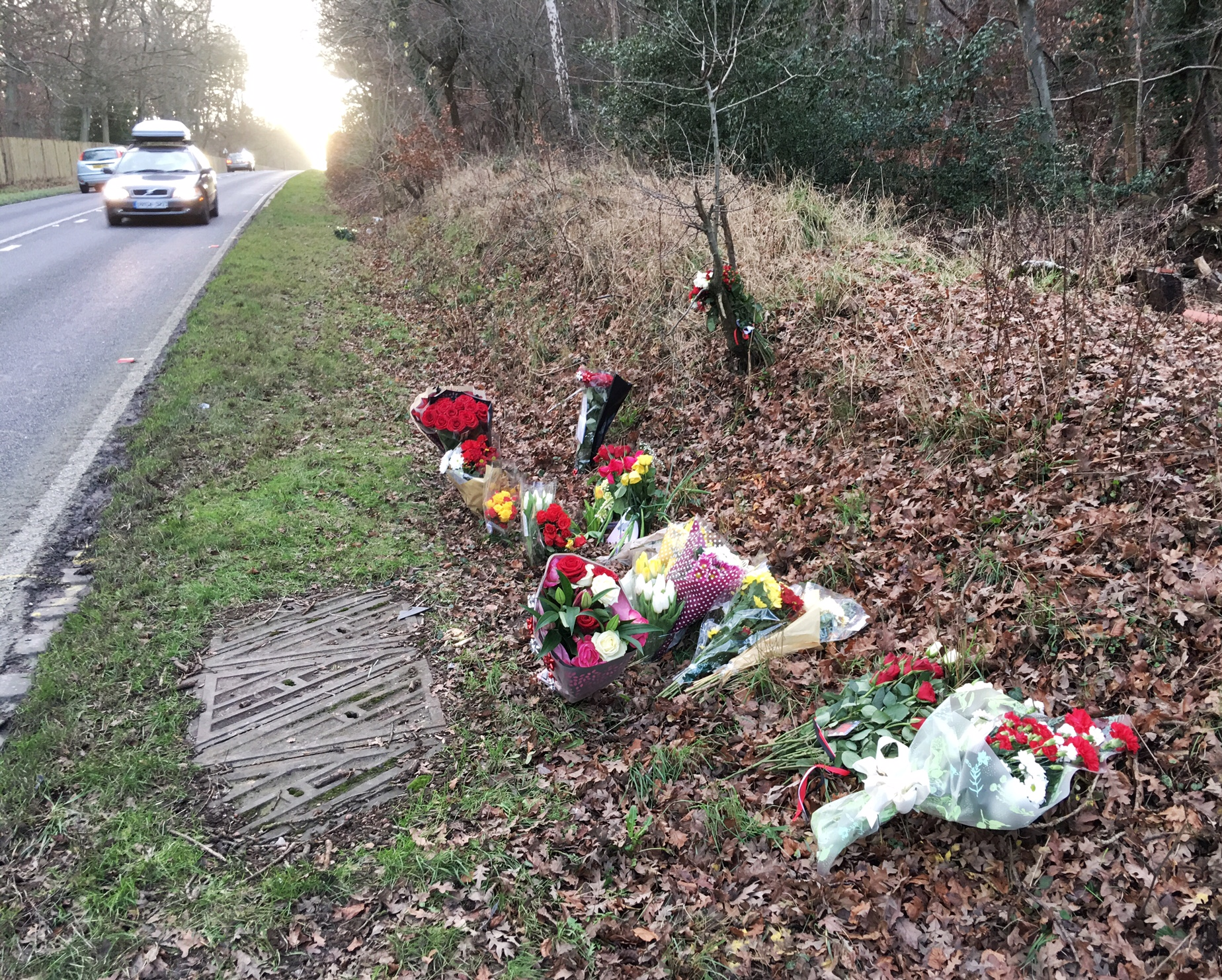 Flowers left at the crash site
