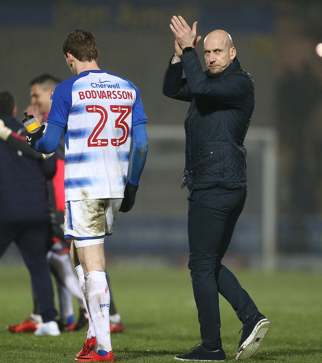 Jaap Stam applauds the Reading fans after Tuesday's vital win at Burton. Pictures: Jason Dawson/jasonpix