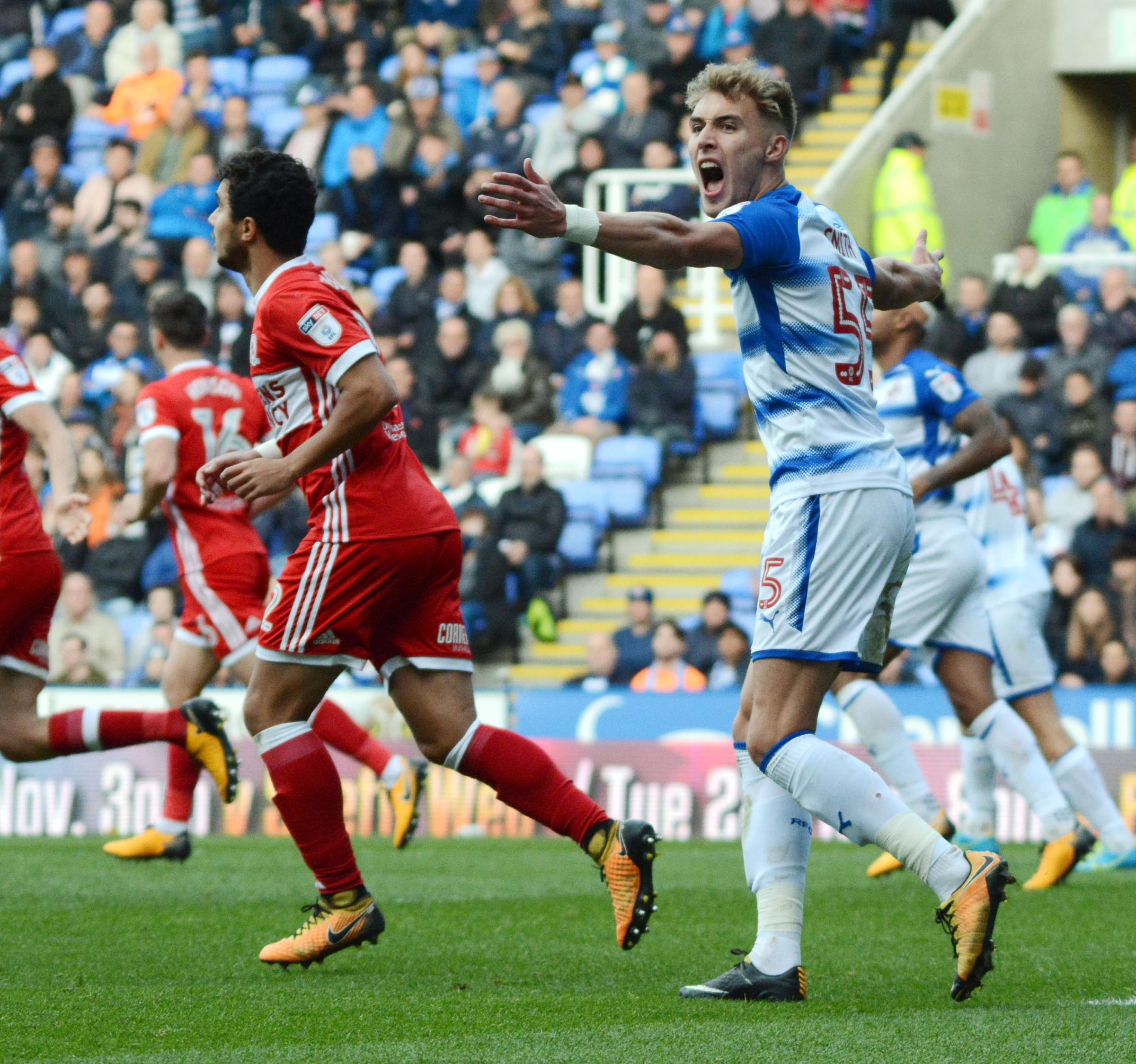 Sam Smith 1710104 Reading FC 0:2 Middlesbrough - Championship - Pictures: Mike Swift.