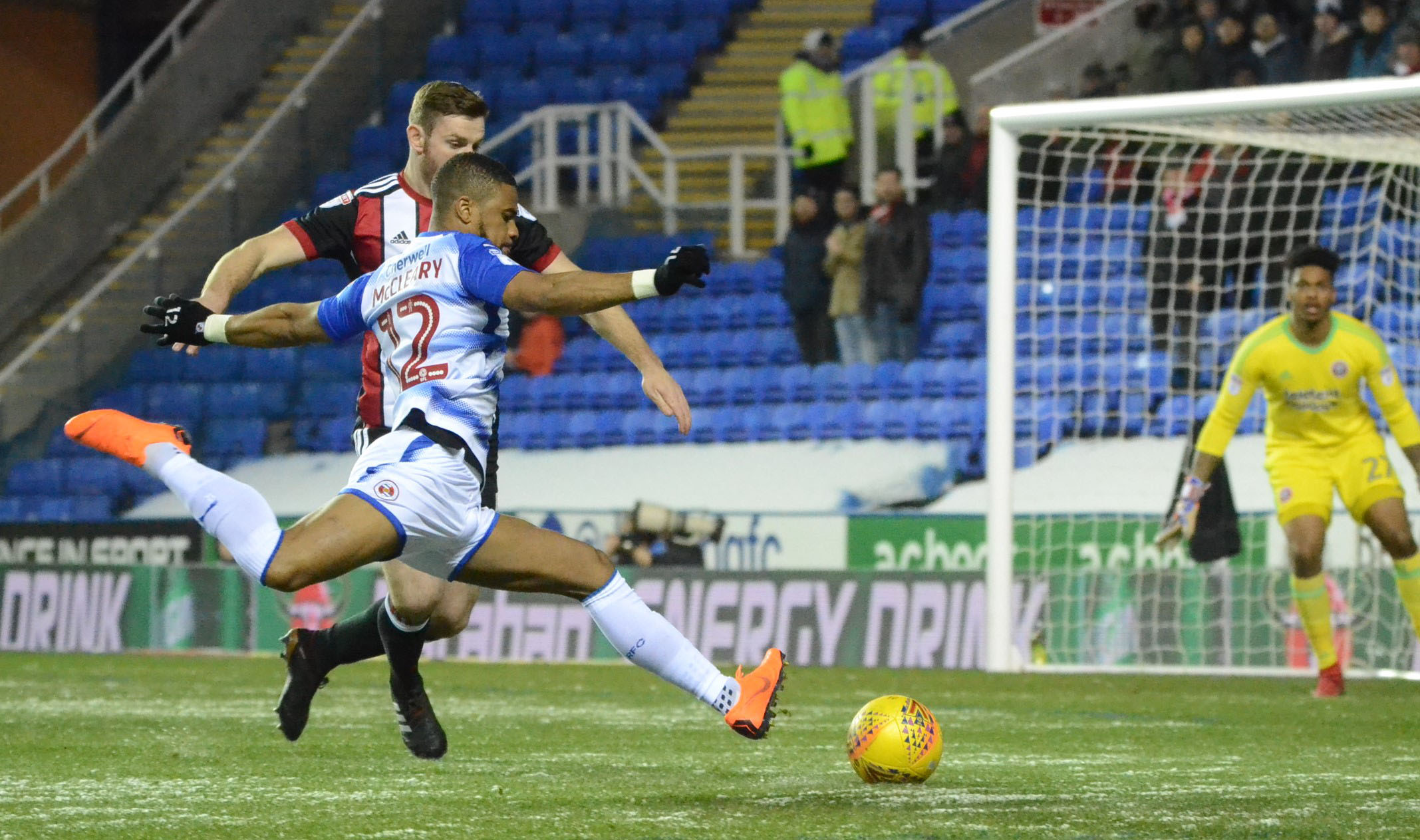 Garath McCleary broke his ankle moments after taking this shot against Sheffield United. Pictures: Chris Forsey.