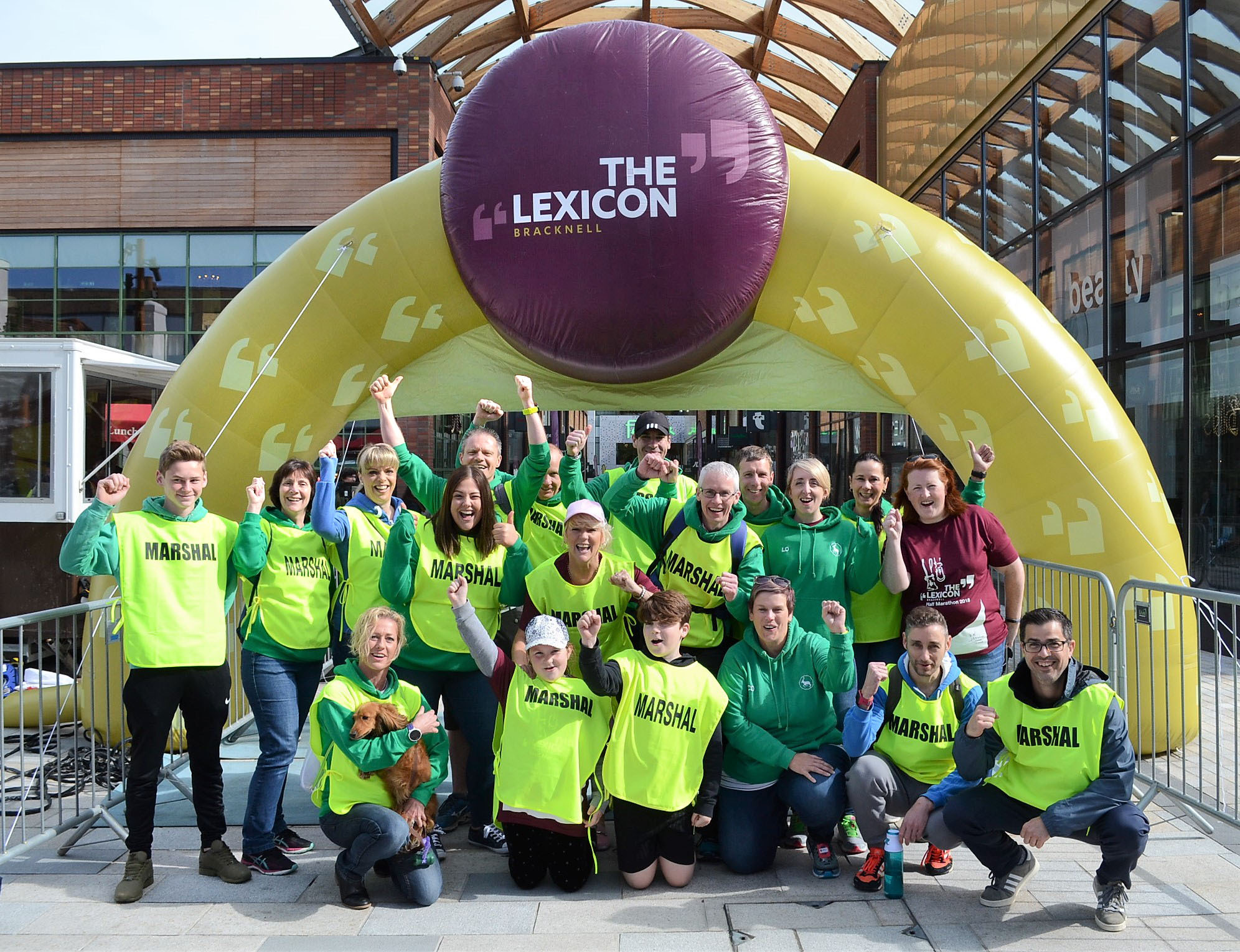 Bracknell Half Marathon marshals at finish line in The Lexicon