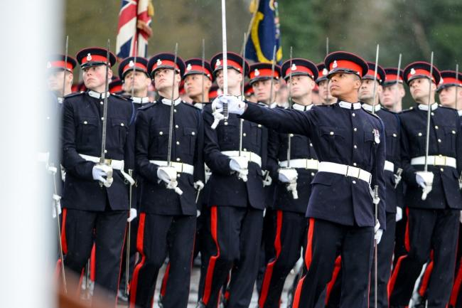The soldiers from the Royal Military Academy in Sandhurst