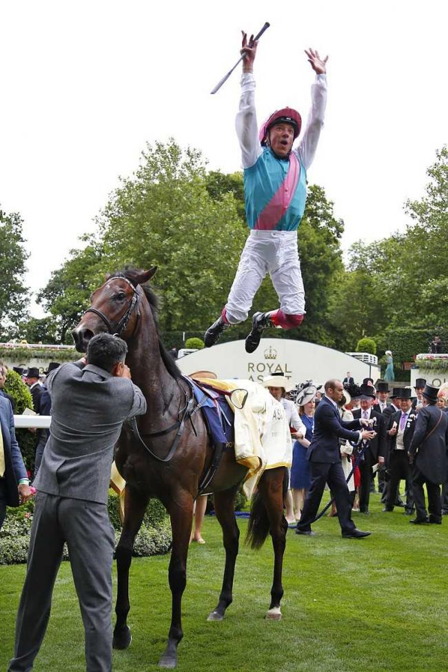 Frankie Dettori celebrated his first win at this year's Royal Ascot on Calyx. Picture: Sue Orpwood.