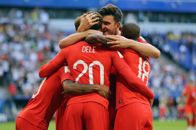 England's Dele Alli (no. 20) celebrates scoring his side's second goal of the game with team-mates during the FIFA World Cup, Quarter Final match at the Samara Stadium. PRESS ASSOCIATION Photo. Picture date: Saturday July 7, 2018. Se