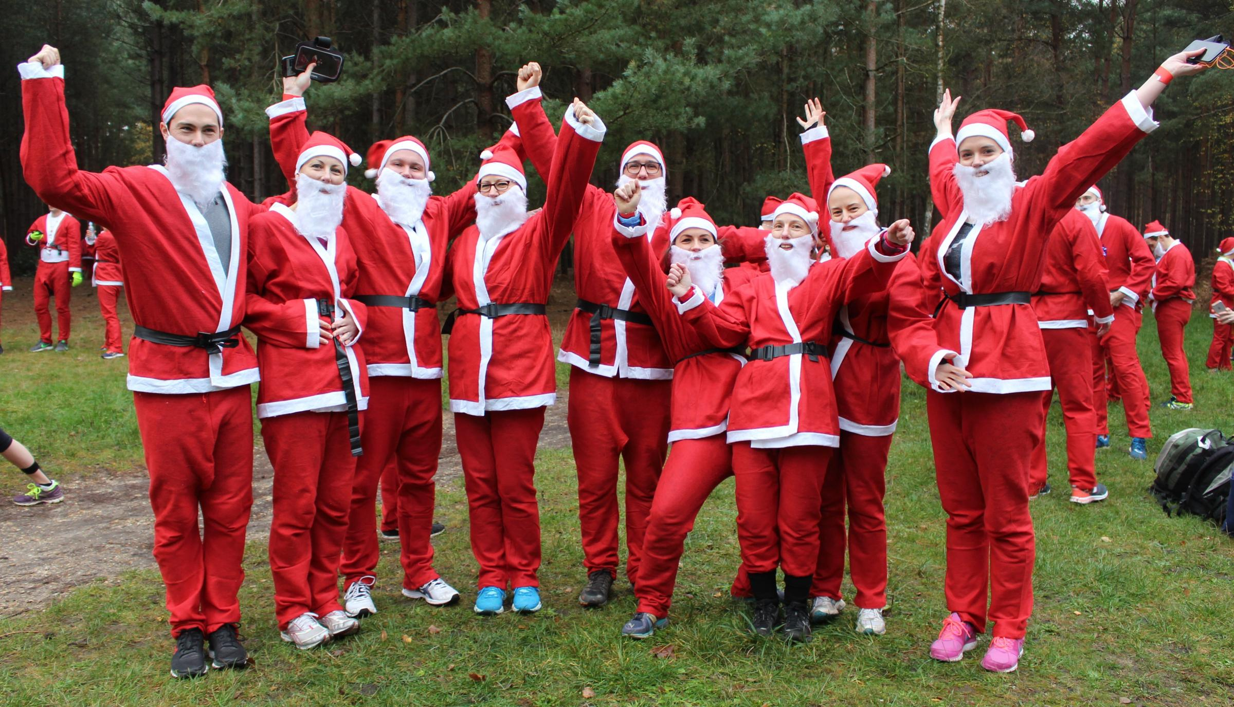 Waitrose staff dressed to take part in the Santa Dash