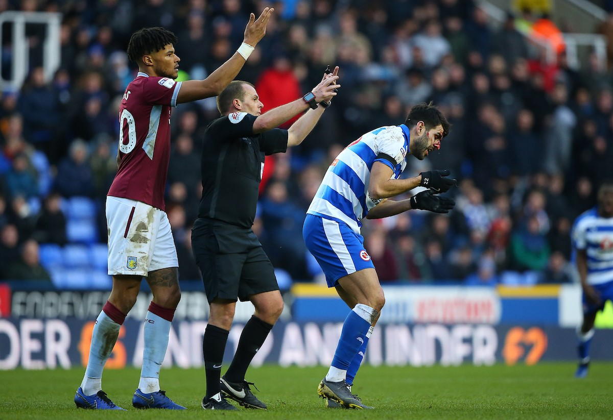 Aston Villa's Tyrone Mings and referee Geoff Eltringham summon medical staff onto the pitch to help Nelson Oliveira. Pictures: Jasonpix.