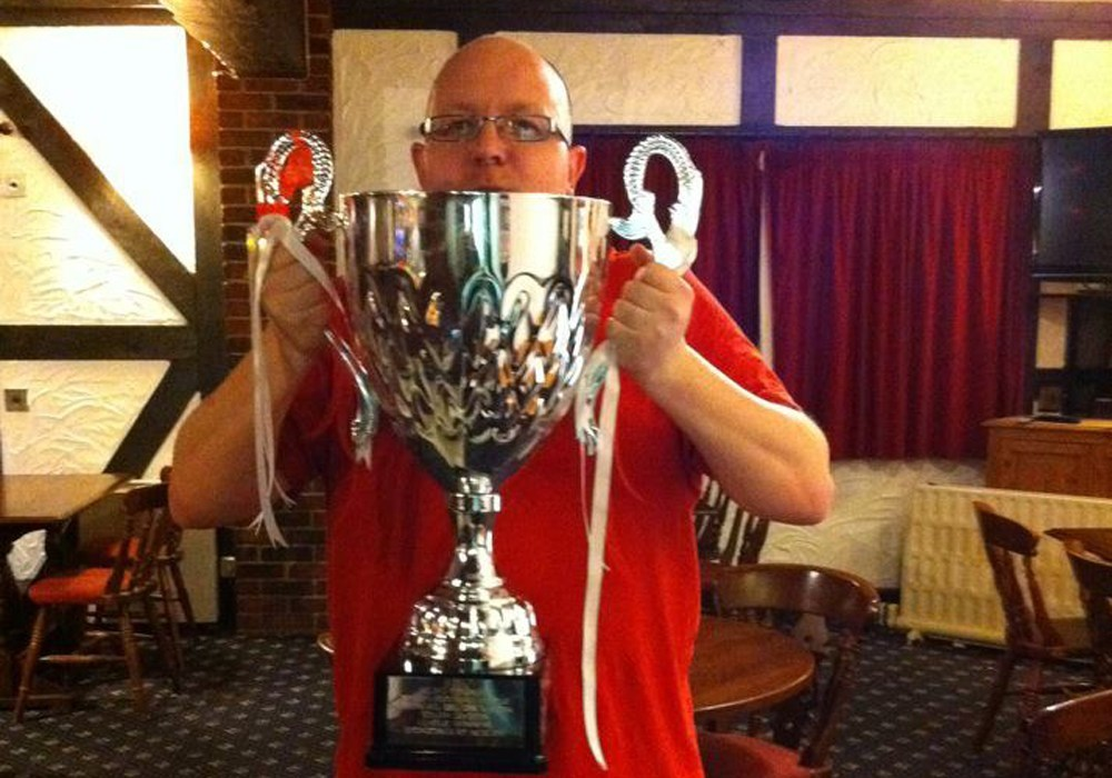 Darrel 'Duds' Freelandl with the Allied Counties Youth League South Division trophy