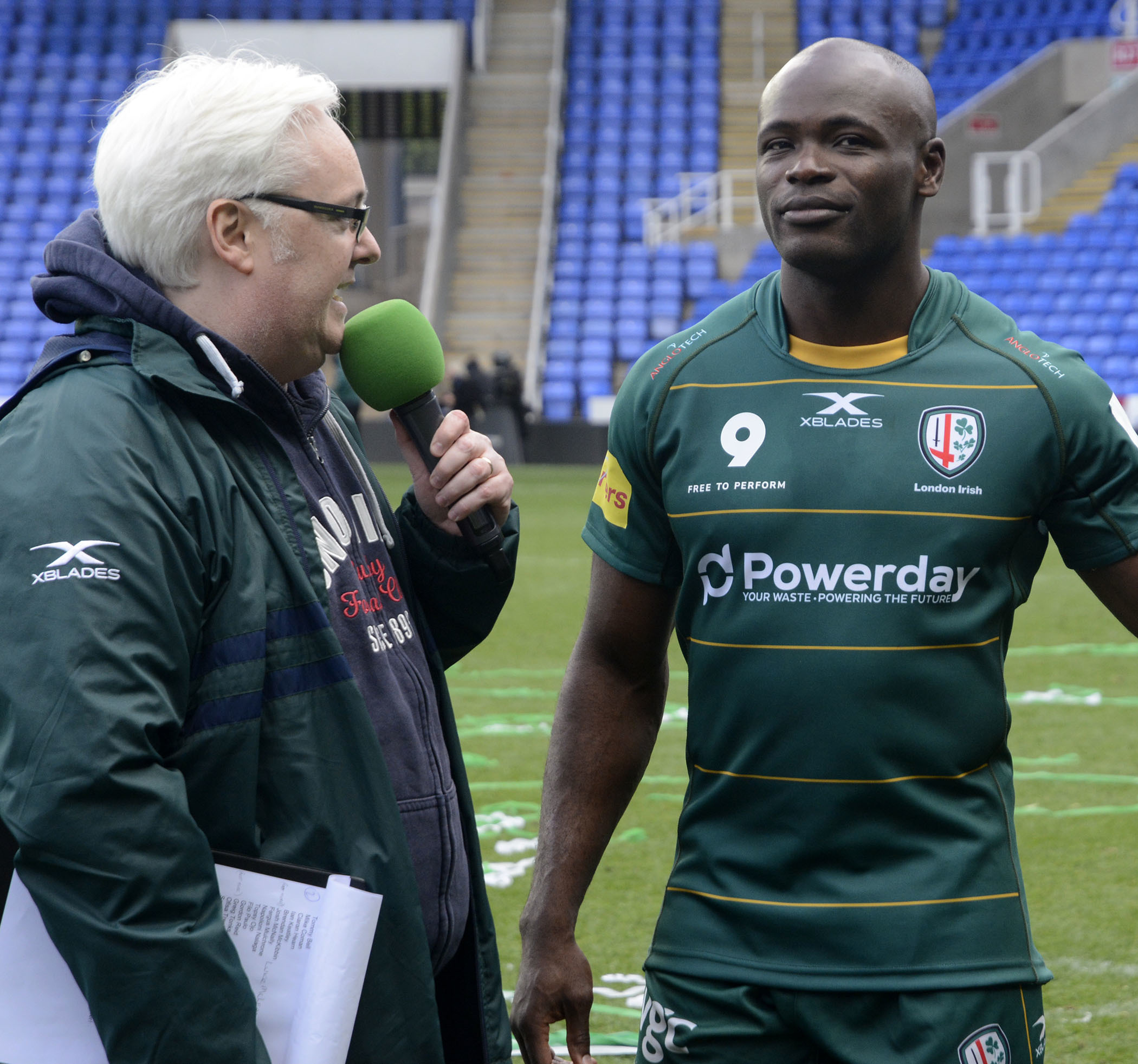 (190480) Topsy Ojo is interviewed after playing his last match for the club after London Irish (green) v Ealing Trailfinders - pics by Paul Johns.