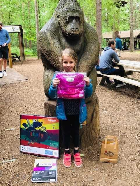 Melissa, aged 6, won an art box and a trip to Go Ape